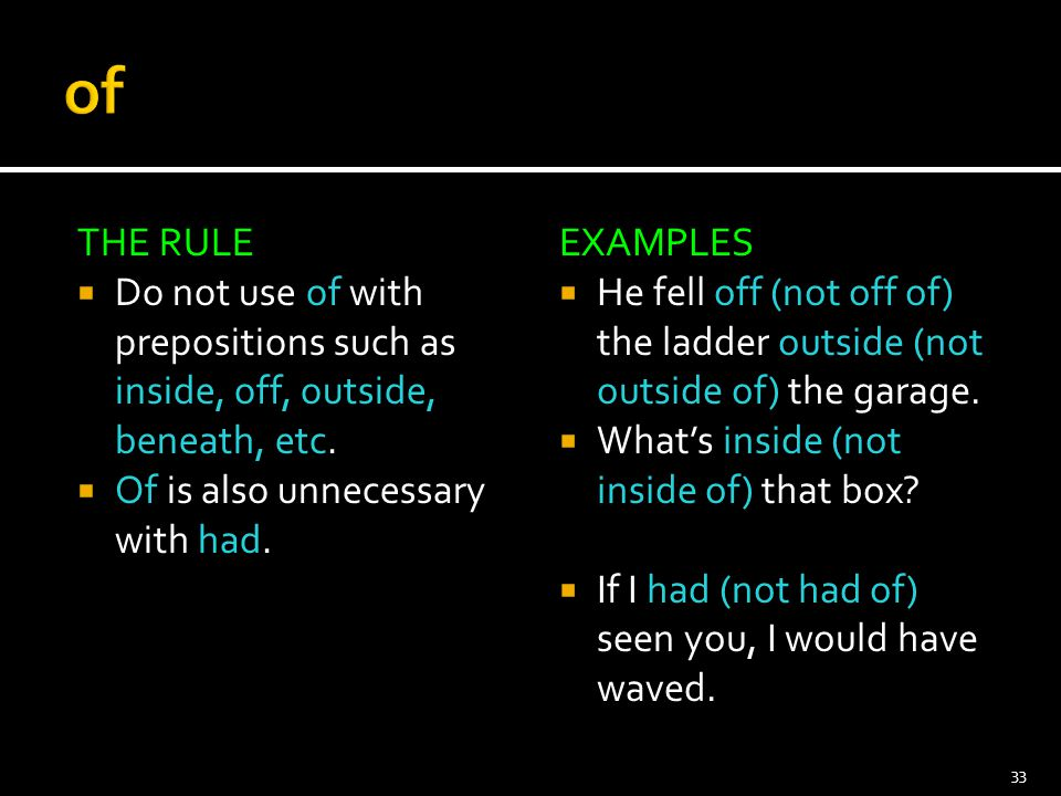 of THE RULE. Do not use of with prepositions such as inside, off, outside, beneath, etc. Of is also unnecessary with had.