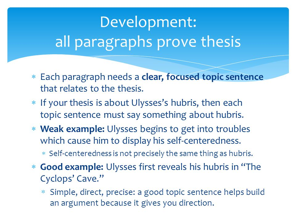 Development: all paragraphs prove thesis