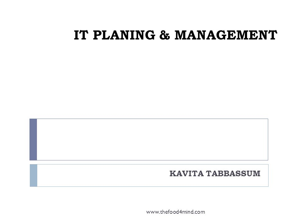 IT PLANING & MANAGEMENT