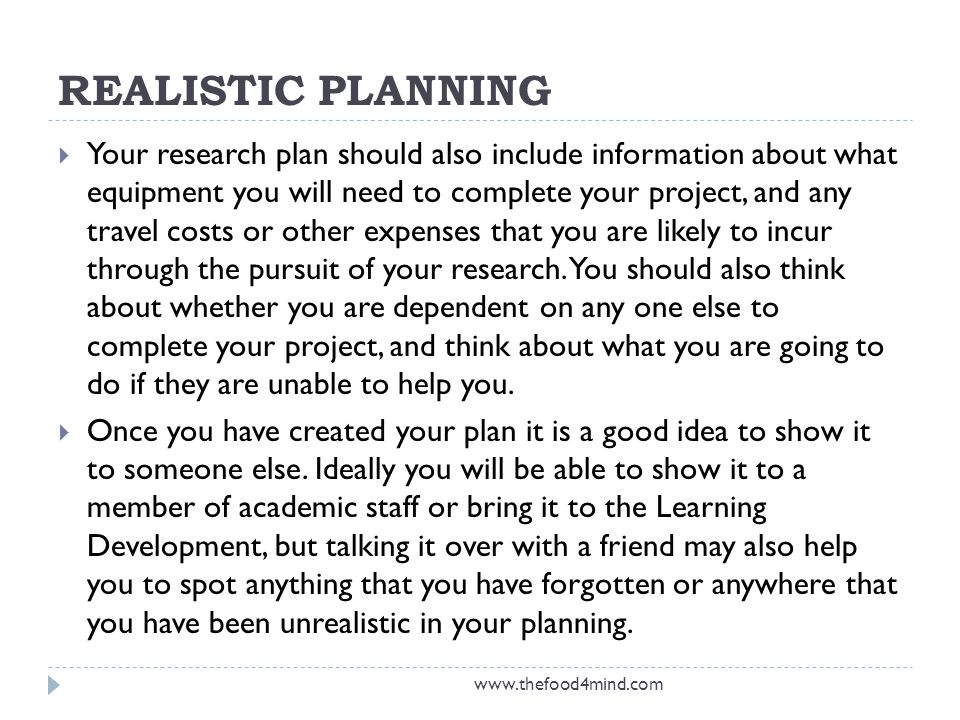 REALISTIC PLANNING