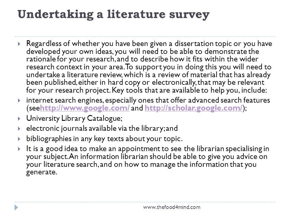 Undertaking a literature survey