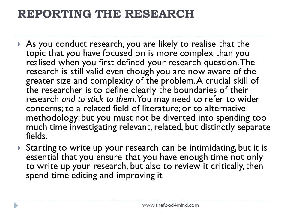 REPORTING THE RESEARCH