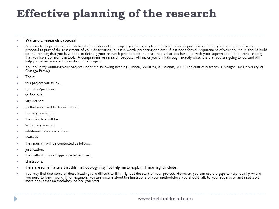 Effective planning of the research