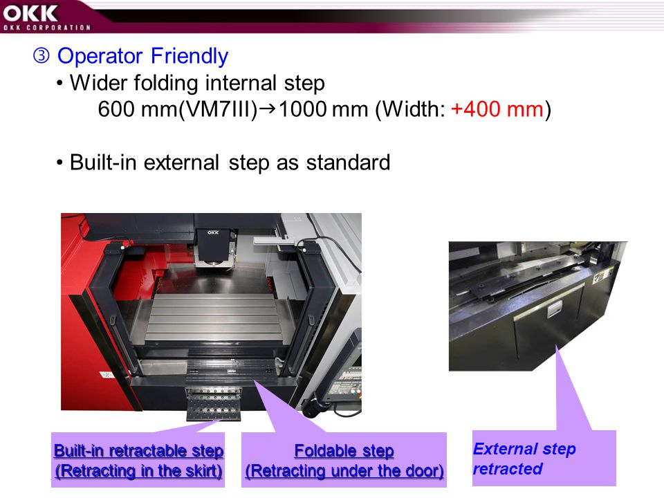 • Wider folding internal step 600 mm(VM7III)1000 mm (Width: +400 mm)