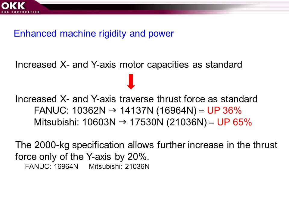 Enhanced machine rigidity and power