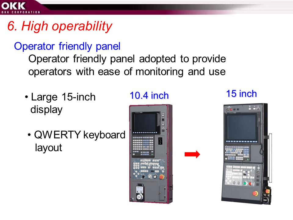 6. High operability Operator friendly panel