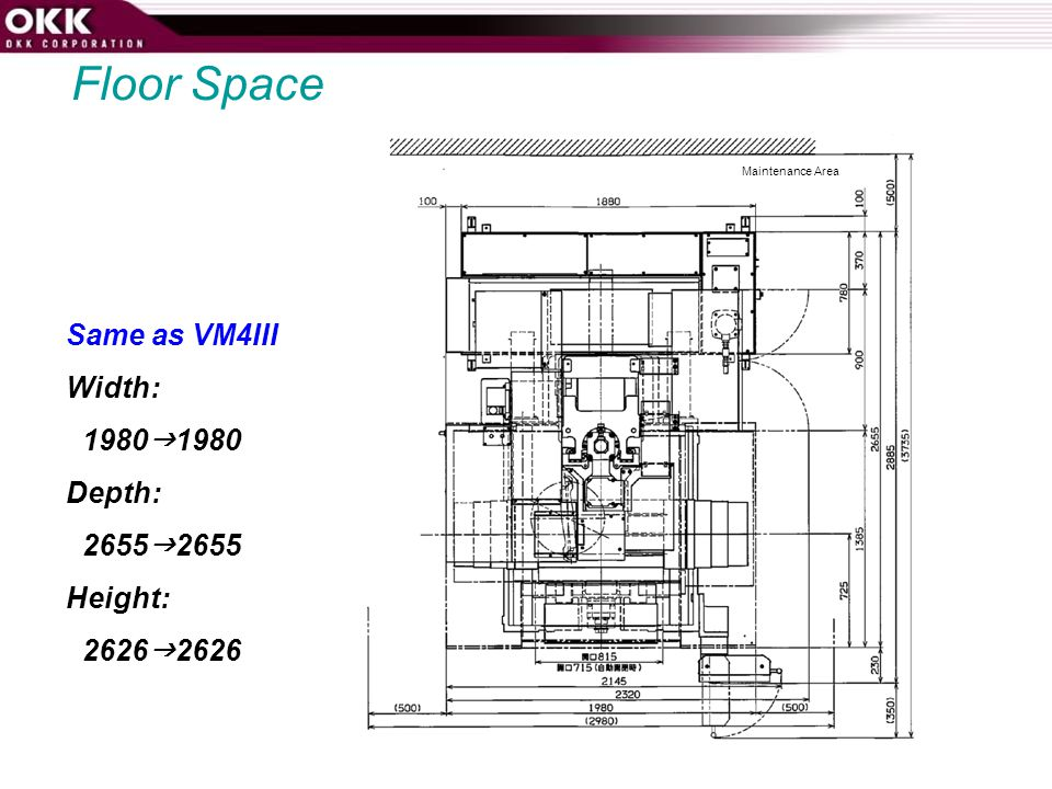 Floor Space Same as VM4III Width: 19801980 Depth: 26552655 Height: