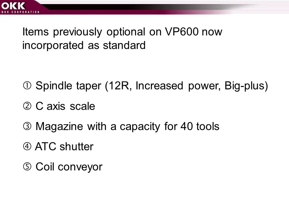 Items previously optional on VP600 now incorporated as standard