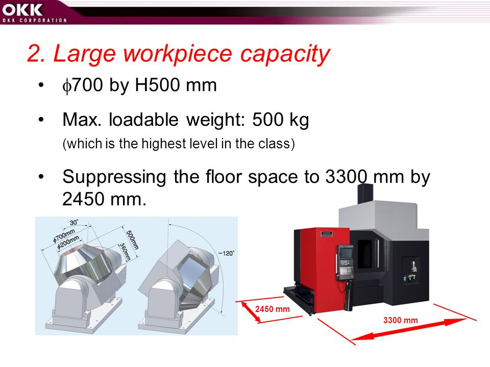 2. Large workpiece capacity