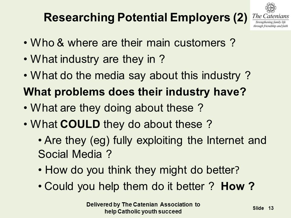 Researching Potential Employers (2)