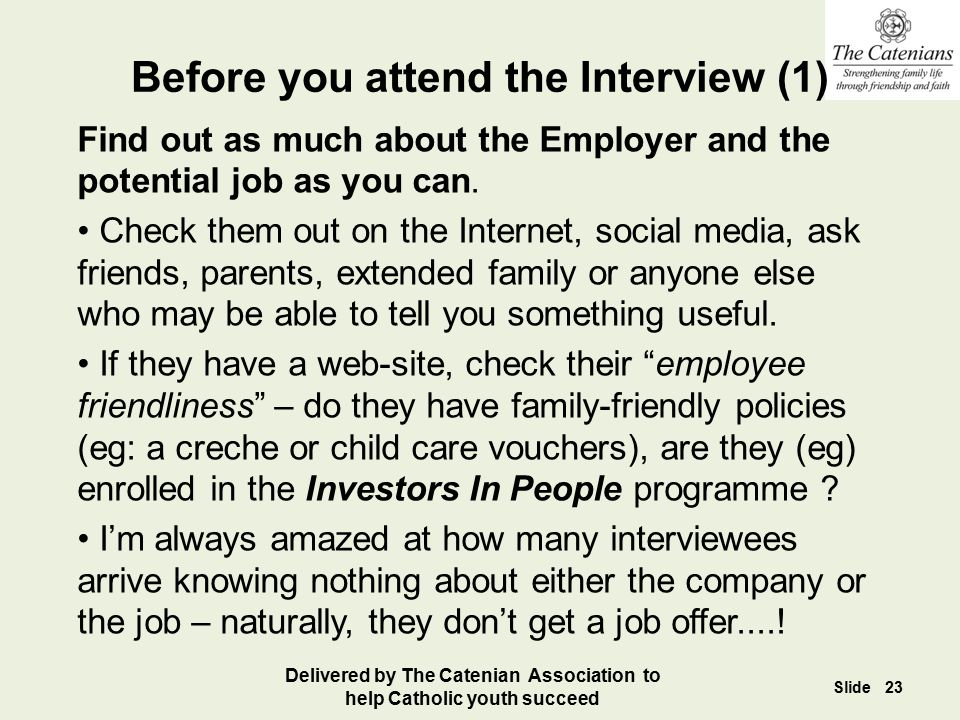 Before you attend the Interview (1)