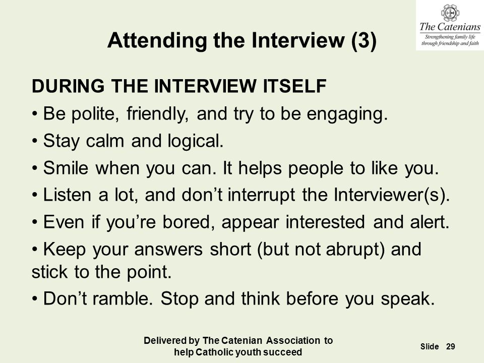Attending the Interview (3)