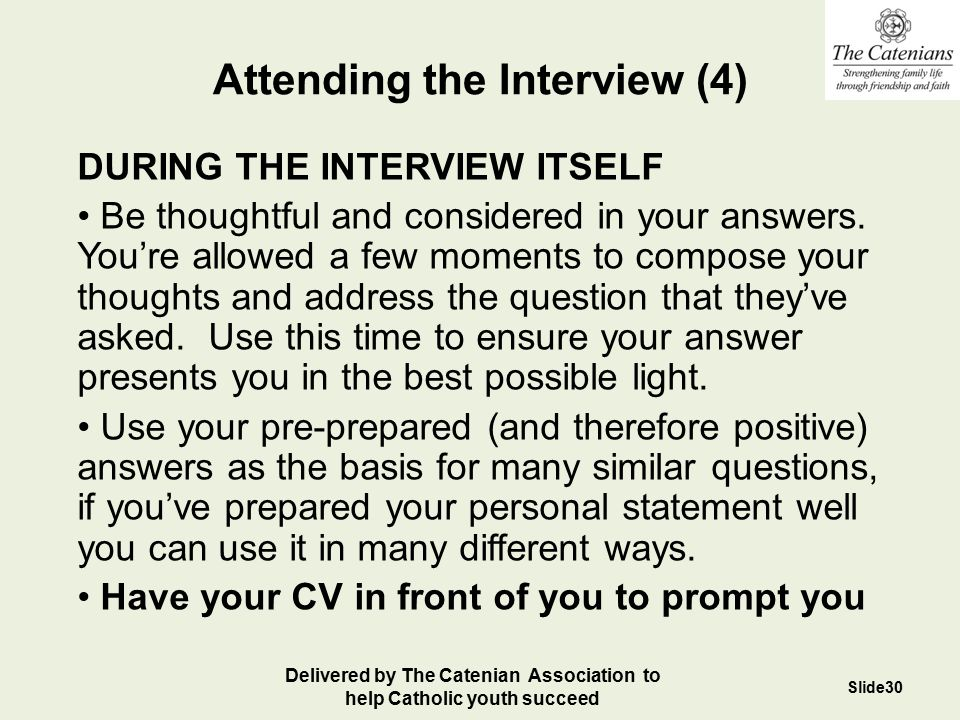 Attending the Interview (4)