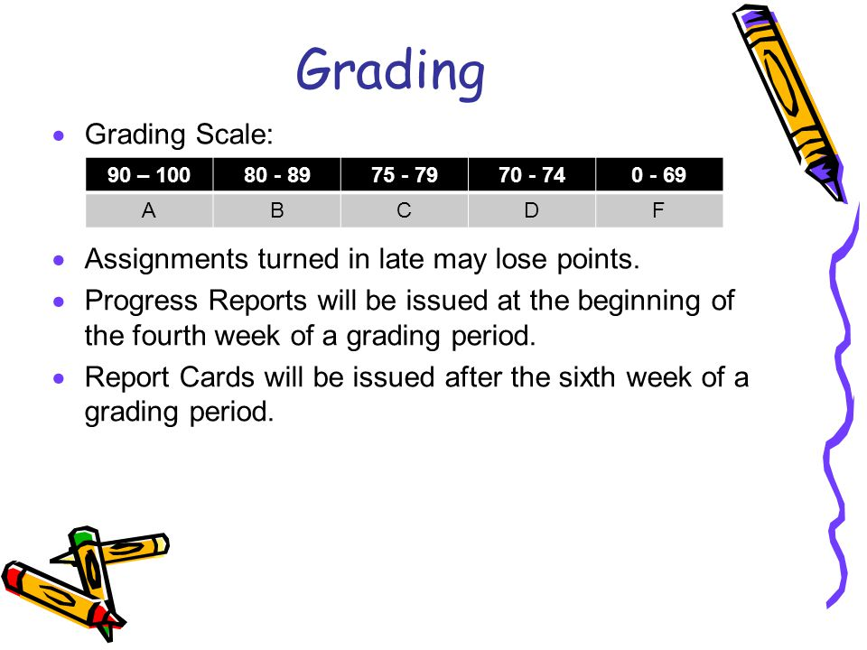 Grading Grading Scale: Assignments turned in late may lose points.