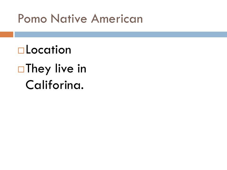 Pomo Native American Location They live in Califorina.