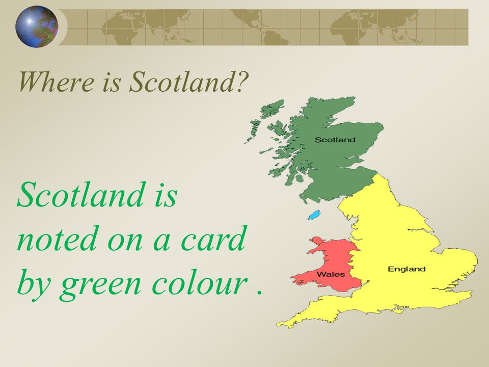 Where is Scotland Scotland is noted on a card by green colour .