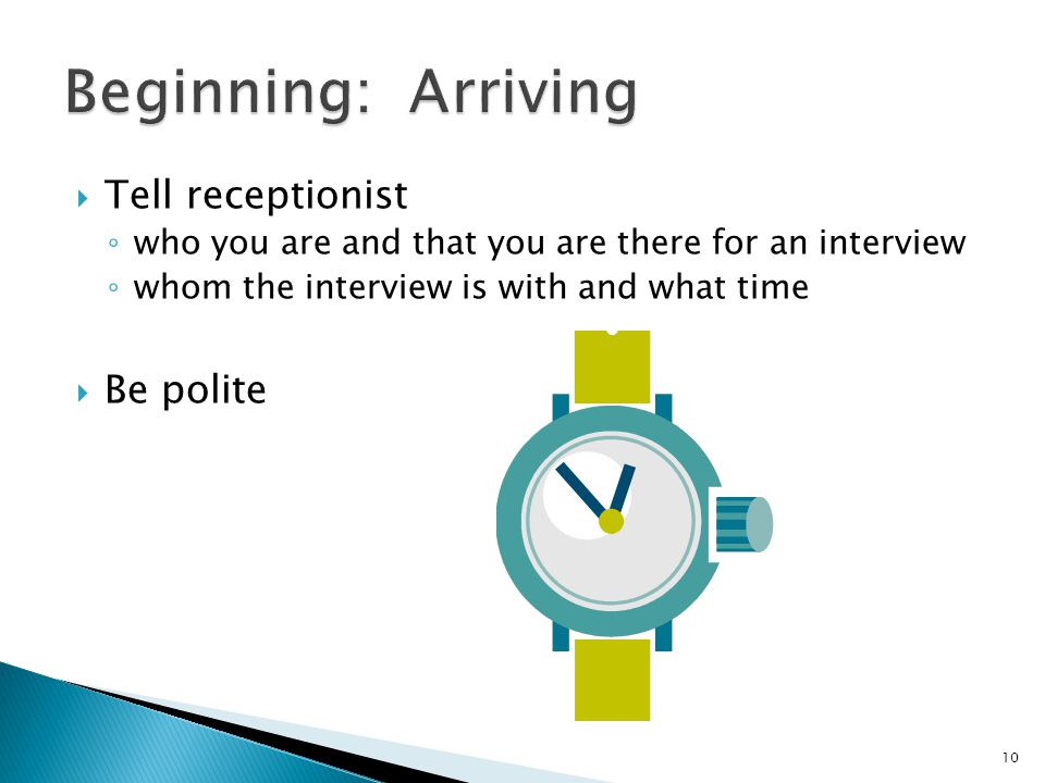 Beginning: Arriving Tell receptionist Be polite