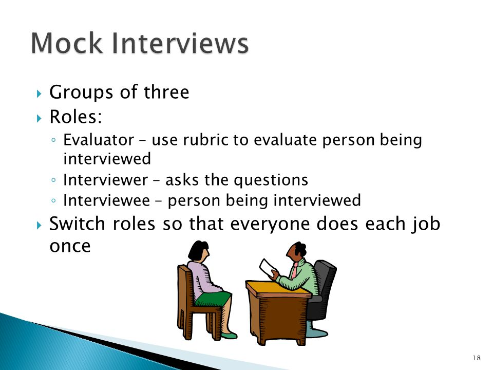 Mock Interviews Groups of three Roles: