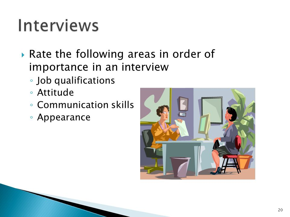 Interviews Rate the following areas in order of importance in an interview. Job qualifications. Attitude.
