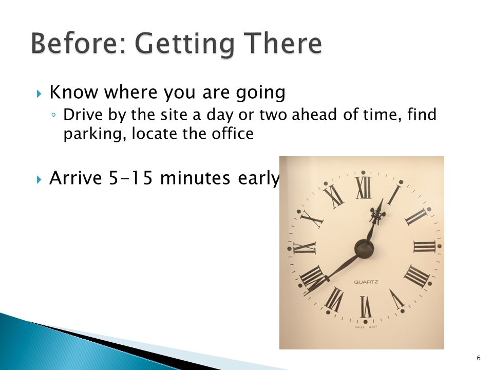 Before: Getting There Know where you are going