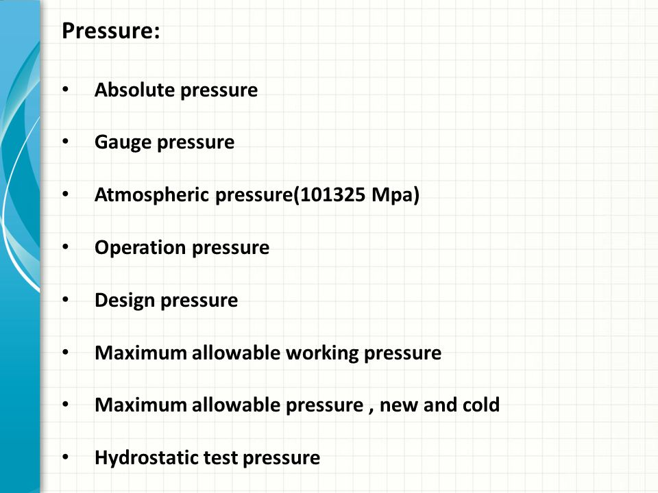 Pressure: Absolute pressure Gauge pressure