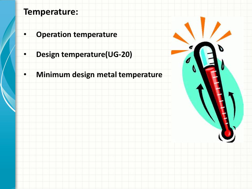 Temperature: Operation temperature Design temperature(UG-20)