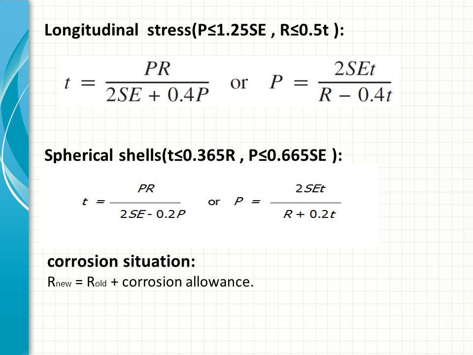 Longitudinal stress(P≤1.25SE , R≤0.5t ):
