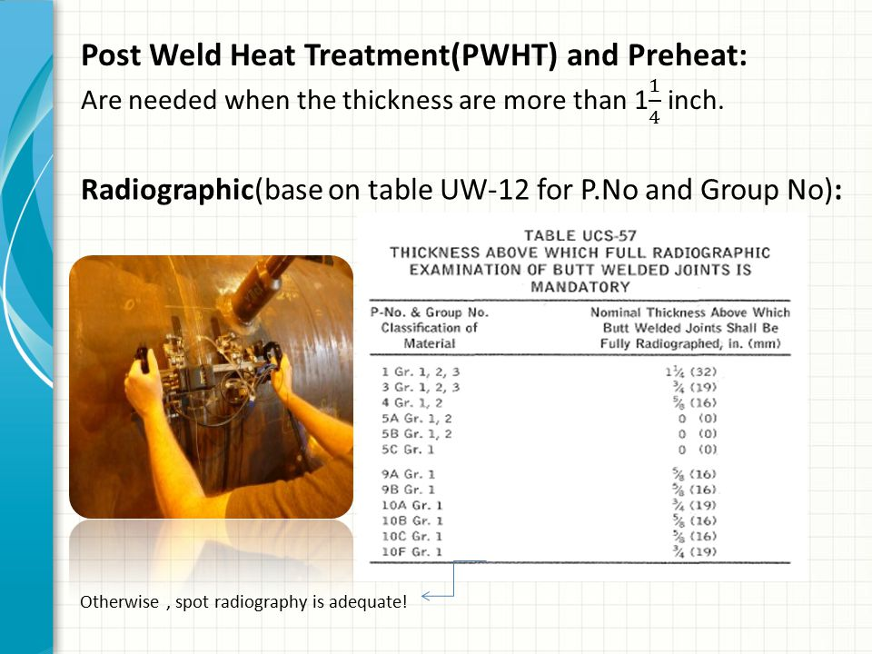 Post Weld Heat Treatment(PWHT) and Preheat:
