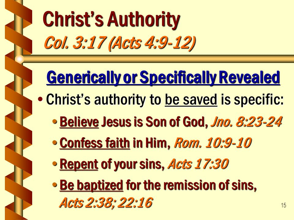 Christ's Authority Col. 3:17 (Acts 4:9-12)