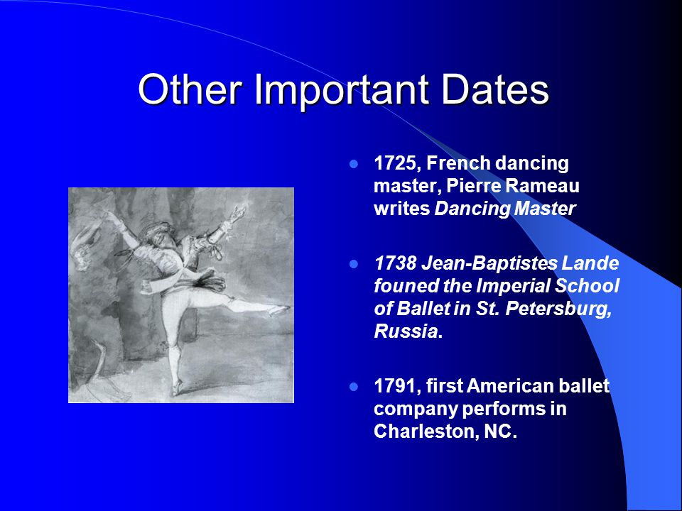 Other Important Dates 1725, French dancing master, Pierre Rameau writes Dancing Master.