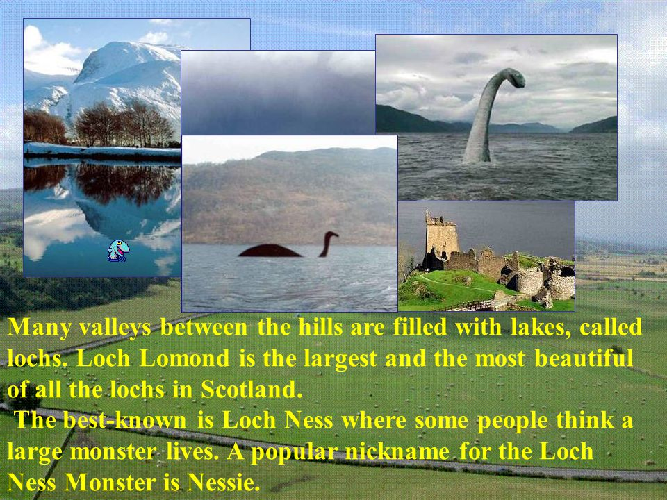 Many valleys between the hills are filled with lakes, called lochs