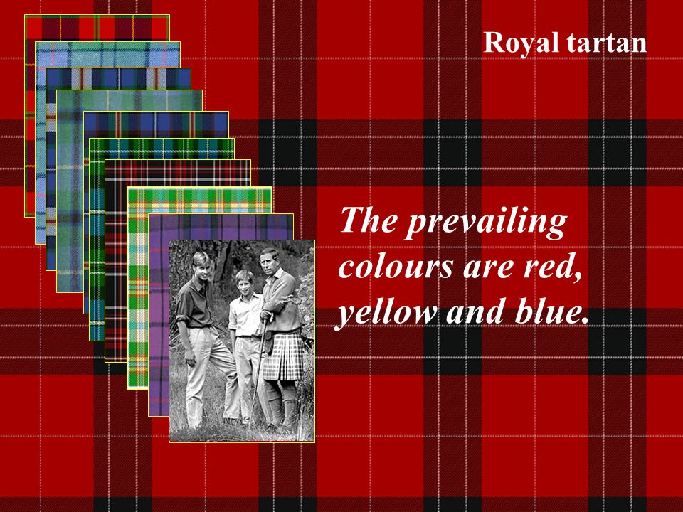 The prevailing colours are red, yellow and blue.