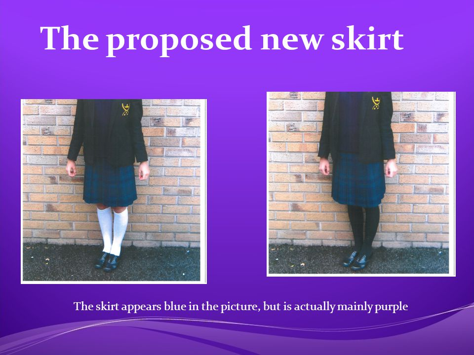 The proposed new skirt The skirt appears blue in the picture, but is actually mainly purple