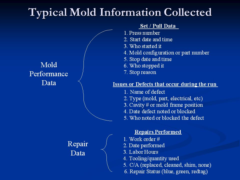 Typical Mold Information Collected