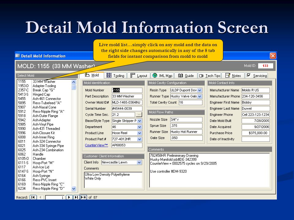 Detail Mold Information Screen