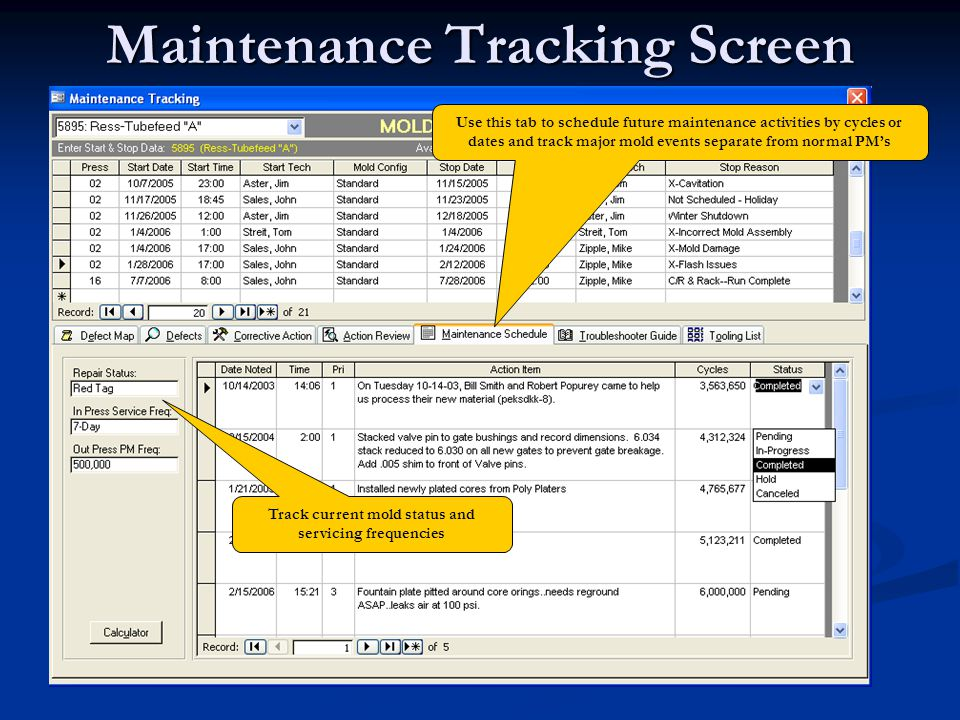 Maintenance Tracking Screen