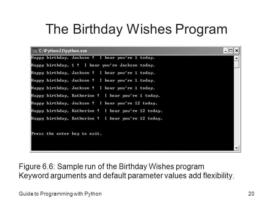 The Birthday Wishes Program