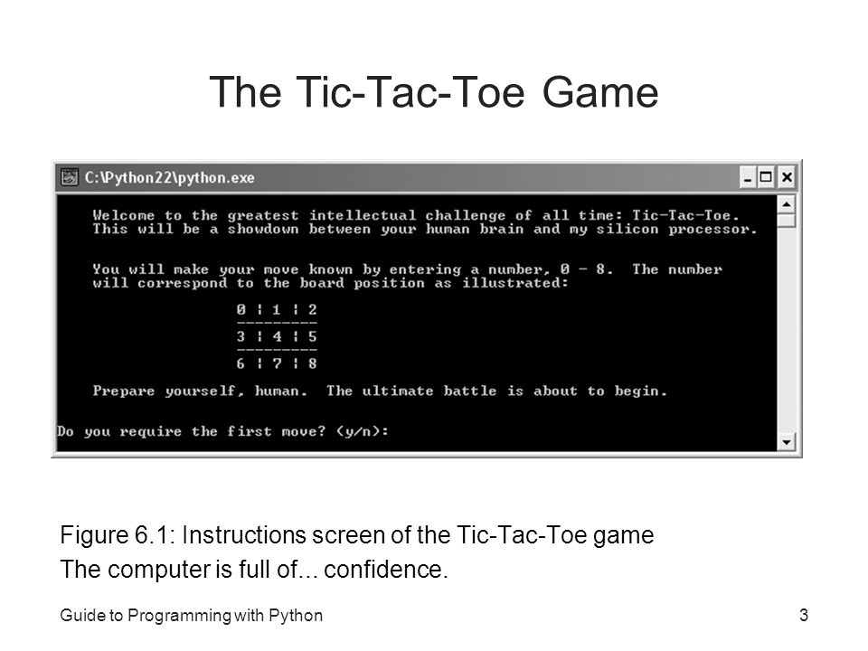 The Tic-Tac-Toe Game Figure 6.1: Instructions screen of the Tic-Tac-Toe game. The computer is full of... confidence.