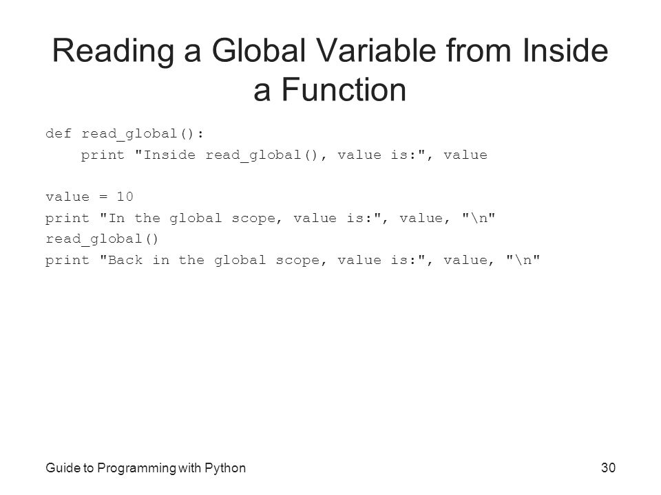 Reading a Global Variable from Inside a Function