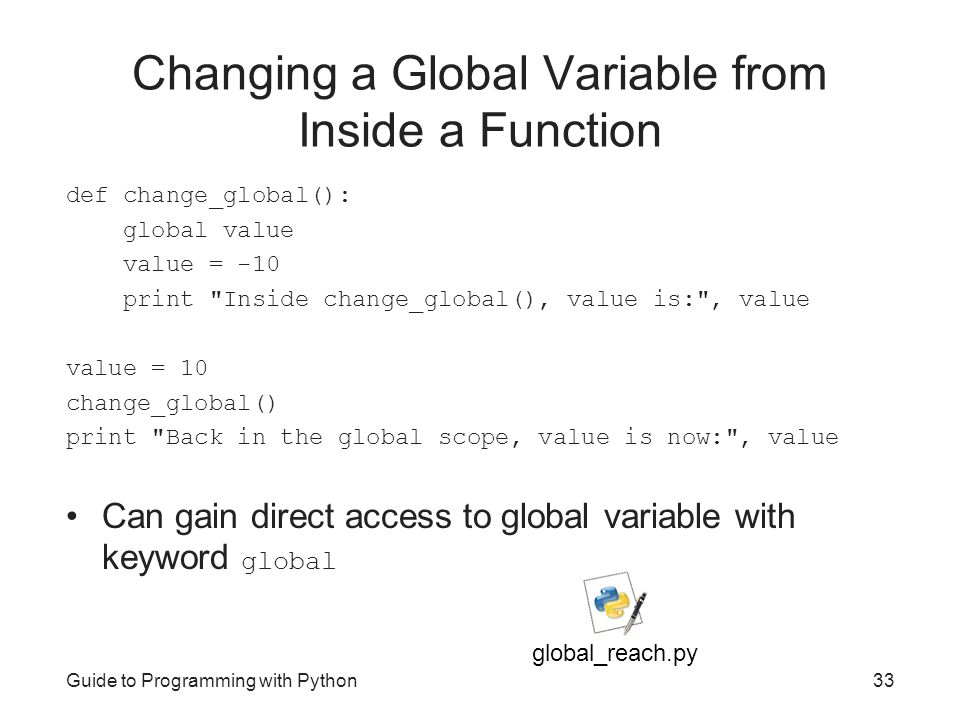 Changing a Global Variable from Inside a Function