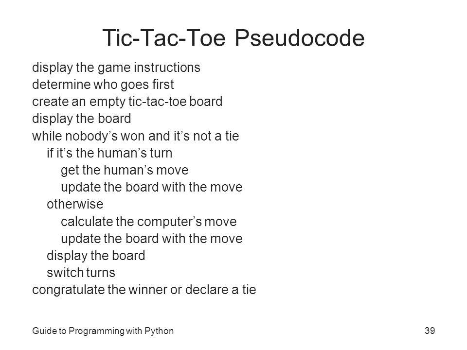 Tic-Tac-Toe Pseudocode