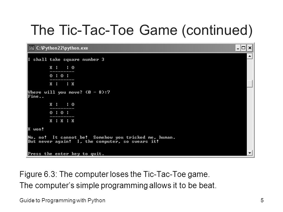 The Tic-Tac-Toe Game (continued)