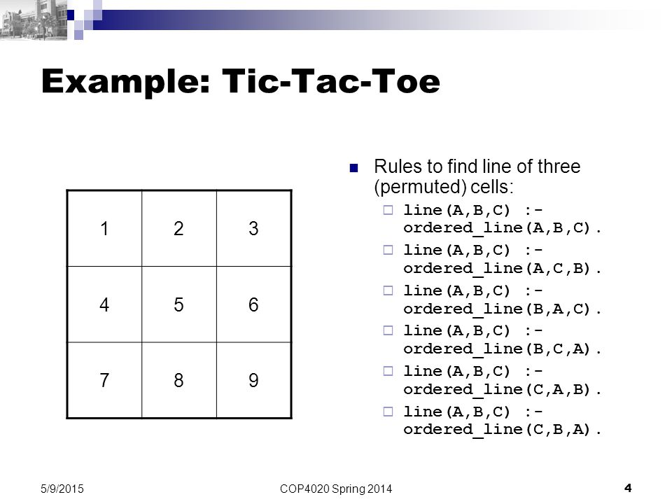 Example: Tic-Tac-Toe Rules to find line of three (permuted) cells: 1 2