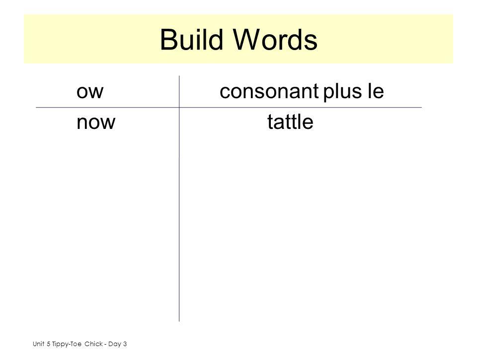 Build Words ow consonant plus le now tattle