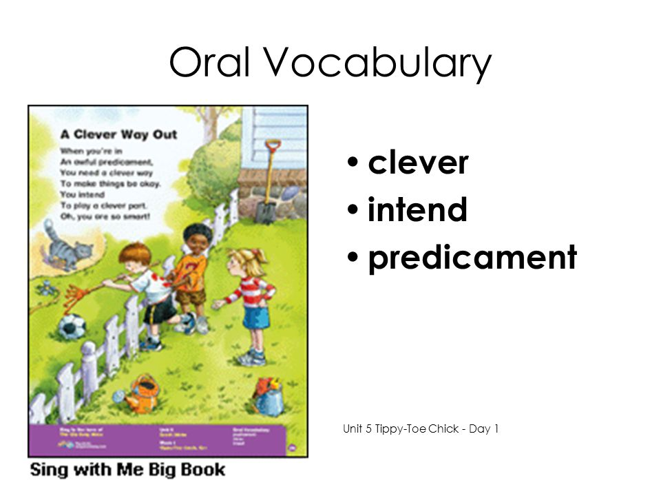 Oral Vocabulary clever intend predicament