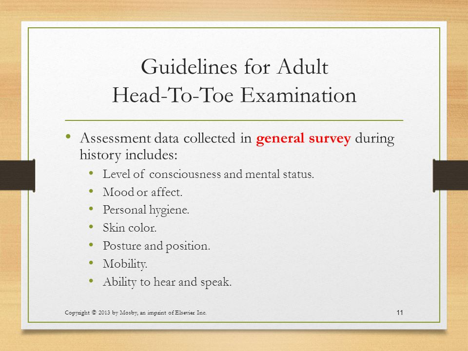 Guidelines for Adult Head-To-Toe Examination