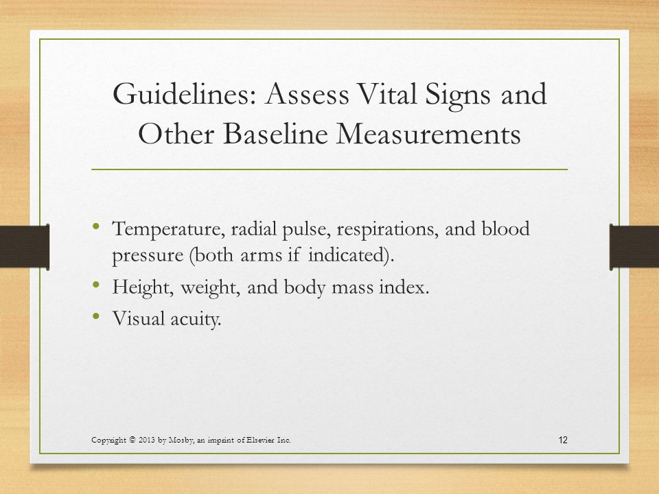 Guidelines: Assess Vital Signs and Other Baseline Measurements