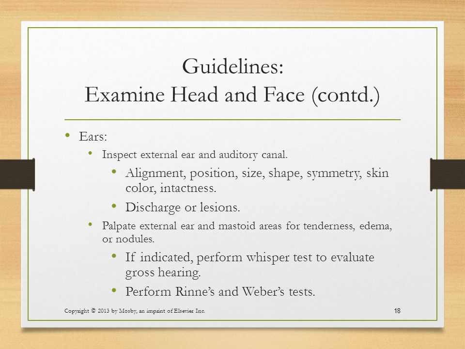 Guidelines: Examine Head and Face (contd.)