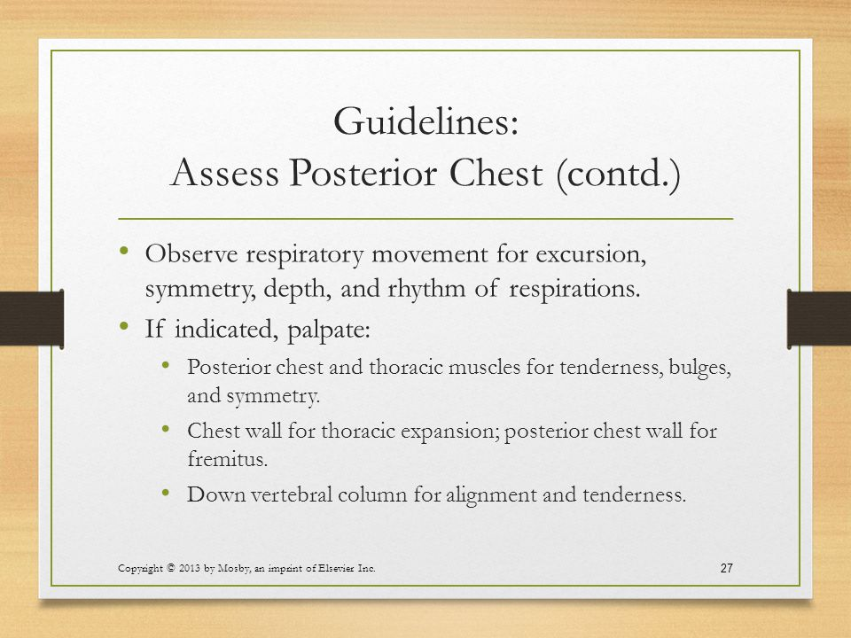 Guidelines: Assess Posterior Chest (contd.)