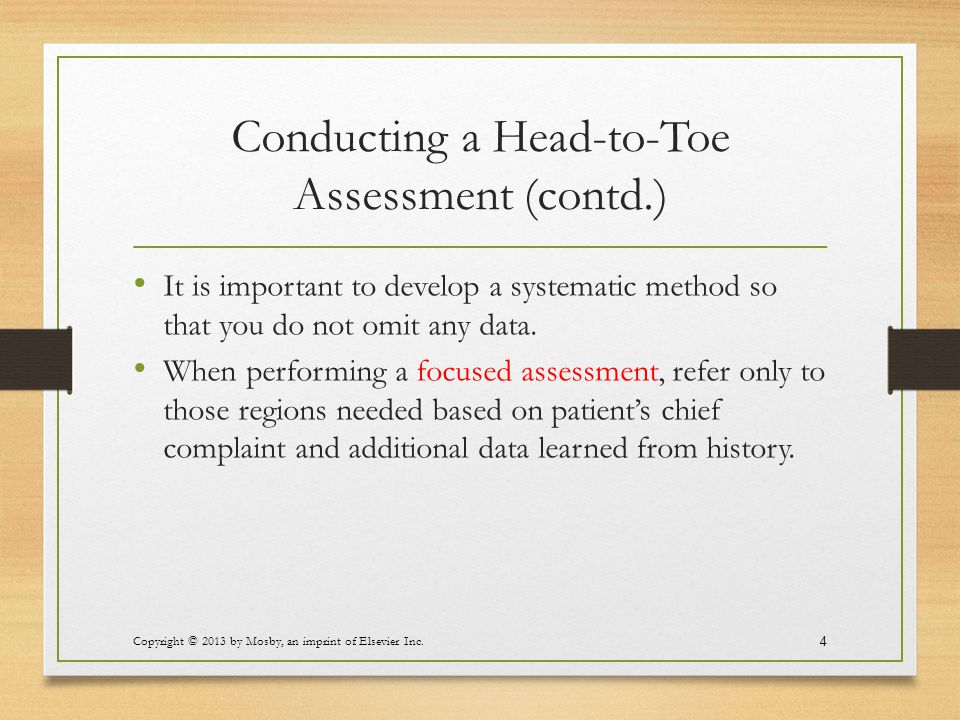 Conducting a Head-to-Toe Assessment (contd.)